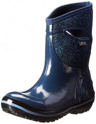 Bogs Women's Plimsoll Quilted Floral Mid Waterproof Winter & Rain Boot,Indigo,9 M US
