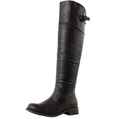 West Blvd Taipei Thigh High Riding Boots, Brown Pu, 8.5