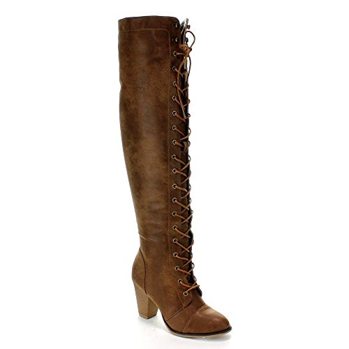 Forever Camila-48 Womens Chunky Heel Lace Up Over The Knee High Riding Boots,Tan,7