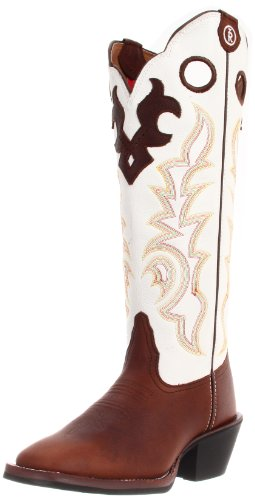 Tony Lama Women's Beige Mustang Buckaroo RR2007L Boot,Beige Mustang/White Baron Calf,6.5 B US