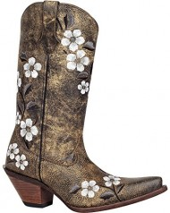 Durango Women's Crush Floral Bouquet Embroidered Cowgirl Boot Snip Toe Tan US