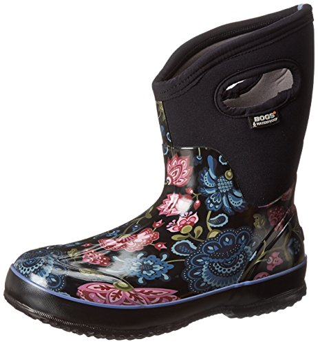 Bogs Women's Classic Mid Winter Blooms Waterproof Winter & Rain Boot,Black Multi,9 M US