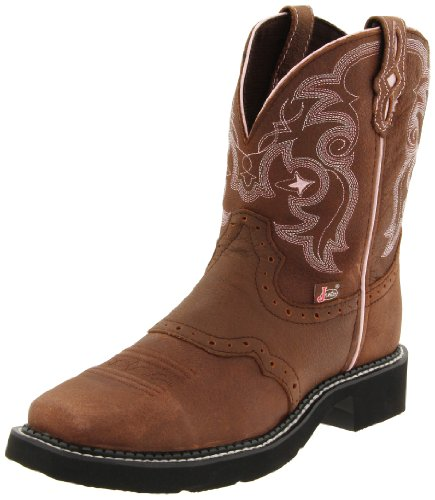Justin Boots Women's Gypsy Collection 8″ Boot Wide Square Single Stitch Toe Black Rubber Outsole,Bay Apache with Perfed Saddle Vamp/Bay Apache with Diamond Cut Pull Strap,7.5 B US