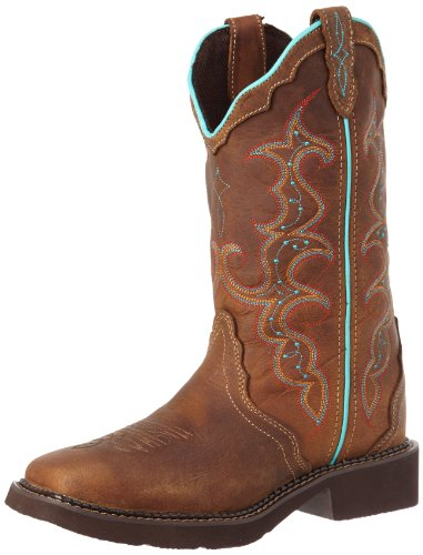 Justin Boots Women's Gypsy Collection 12″ Boot Wide Square Double Stitch Toe Rubber Outsole,Tan Jaguar with Diamond Cut Pull Strap,7.5 B US