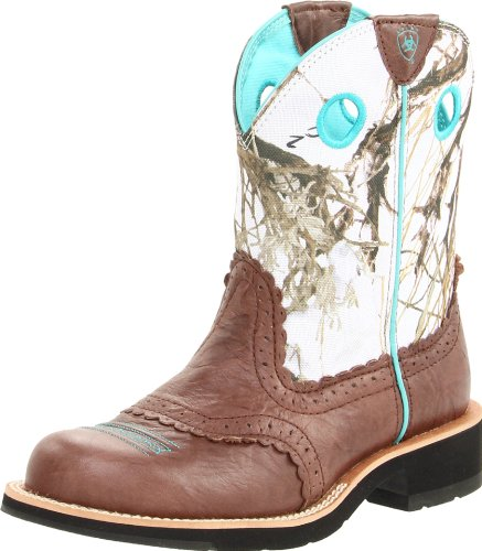 Ariat Women's Fatbaby Cowgirl Western Boot, Brown Crinkle/Snowflake, 10 M US
