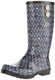 Nomad Footwear Women's Puddles II Rain Boot, Navy Anchors, 8 M US