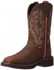 Justin Boots Women's Gypsy Collection 11″ Waterproof Boot Wide Square Double Stitch Toe Brown Rubber Outsole,Barnwood Brown Buffalo/Barnwood Brown Buffalo with Diamond Cut Pull Strap,7.5 B US