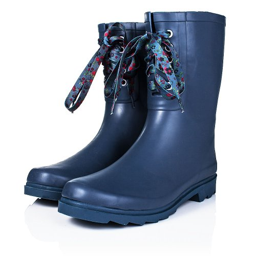 Flat Festival Wellies Wide Calf Rain Calf Boots Blue Rubber US 9