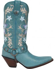 Durango Boot Women's DCRD016 12″ Floral Harness Crush,Powder Blue,US 8.5 M