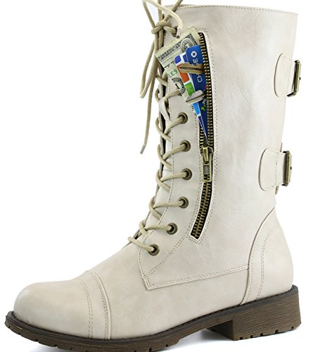 Women's Military Lace Up Buckle Combat Boots Mid Knee High Exclusive Credit Card Pocket, 8