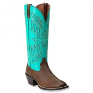 Ariat Womens Round Up Buckaroo Boot Vintage Bomber/Solid Turquoise Size 7