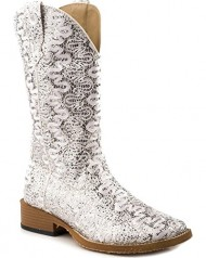 Roper Women's Bling Lace Glitter Faux Leather Cowgirl Boot Square Toe White US