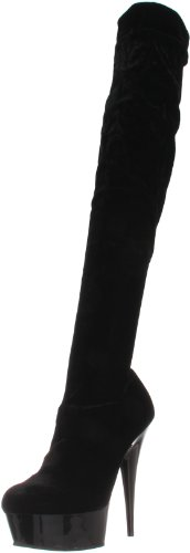 Pleaser Women's Delight-3002 Boot,Black Velet,8 M US