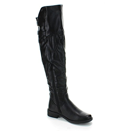 FOREVER ABY-91 Women's Slouch Over The Knee High Riding Boots with Inside Zipper, Color:BLACK, Size:7.5