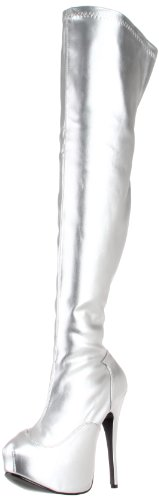 Pleaser Women's Teeze-3000/SSPU Boot,Silver Stretch Polyurethane,10 M US