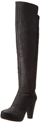 Steve Madden Women's Rannsome Riding Boot, Black Leather, 8.5 M US