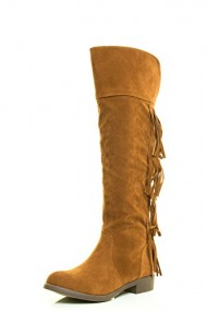 Adriana Womens Almond Toe Western Fringe Low Heel Over Knee Thigh Riding Boot 8.5 Rust