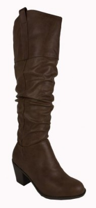 Tousle! By City Classified Slouchy Classic Knee-high Boots with Pull-on Tabs, Chunky Heels, and a Cowboy, Midwestern Feel, brown leatherette, 8 M