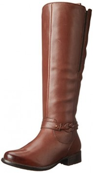 Clarks Women's Plaza Market Riding Boot, Brown Leather, 9 M US