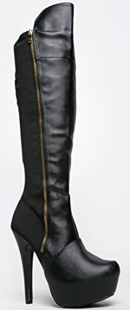 TASK-48 Over the Knee Zipper Accent High Heel Boot