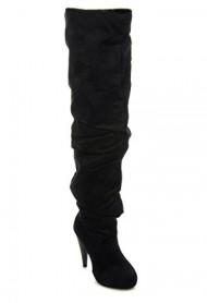 Women's Thigh High Slouchy Ruching Heel Boots MCKAY BLACK