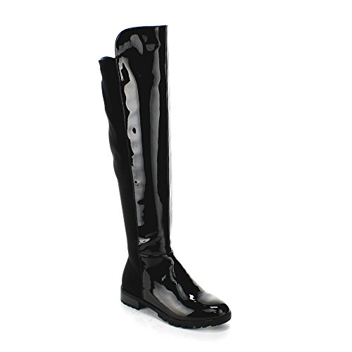 FOREVER FIFTY-50-4 Women's Fashion Two Tone Over The Knee High Slick Riding Boot, Color:BLACK, Size:5.5