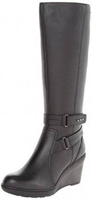 Clarks Women's Natira Kae GTX Riding Boot,Black Leather,11 M US