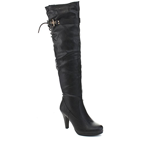 FOREVER CECI-11 Women's Kitty Heel Back Lace Up Over The Knee High Boots, Color:BLACK, Size:6