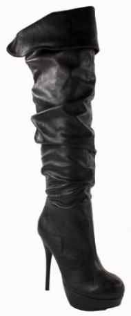 Praise! By Speed Limit 98 Thigh High Slouchy Platform Stilleto, black leatherette, 7.5 M