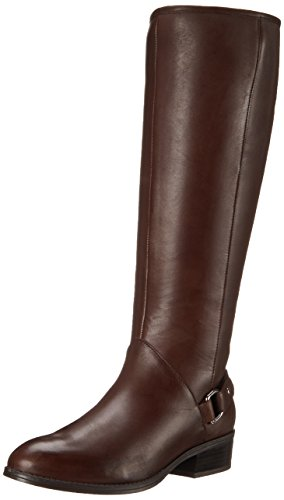 Lauren Ralph Lauren Women's Micaela Riding Boot, Dark Brown Burnished Calf, 9.5 B US