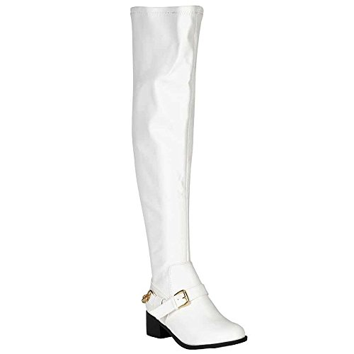 Breckelle's CAPITAL-16 Women Buckle Strap Chain Over The Knee High Riding Boots,WHITE,8.5