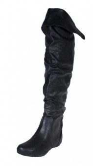Frib! By Soda Slouchy Over the Knee and Knee High Foldable Low Hidden Heel Boot, black leatherette, 7.5 M