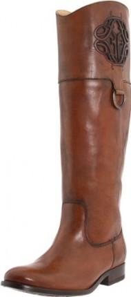 FRYE Women's Melissa Logo Boot, Saddle Smooth Full Grain, 6.5 M US