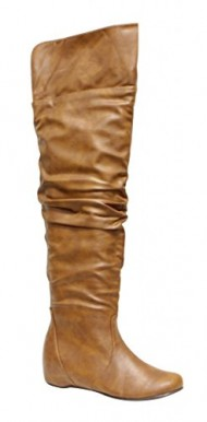 Top Moda Mesh-1 Women's almond toe hidden heels over knee loose opening PU slouchy boots Tan 6.5