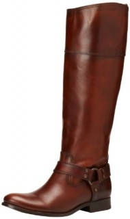 FRYE Women's Melissa Harness InSide-Zip Boot, Redwood Smooth Vintage Leather Wide Calf, 8.5 M US