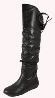 Letta! By Soda Sexy Fashion Pirate Inspired Slouchy Thigh-high Flat Boots with Lace-tie Back Design, black leatherette, 5.5 M