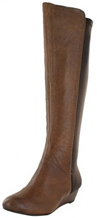 Jessica Simpson Womens Wedge Boots Leather Stretch Brown Sz 6