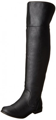 XOXO Women's Bardot Motorcycle Boot,Black,6 M US