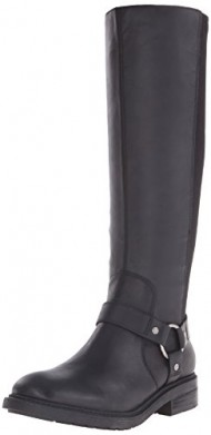 Nine West Women's Galician Leather Knee High Boot, Black/Black, 8.5 M US