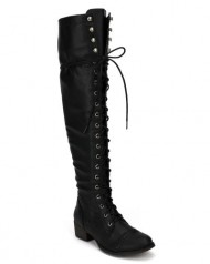 Breckelle AF57 Women Leatherette Military Lace Up Knee High Boot – Black (Size: 6.0)