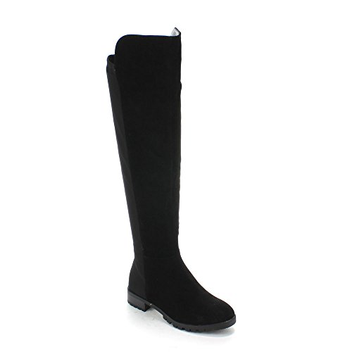 FOREVER FIFTY-50-2 Women's Fashion Two Tone Over The Knee High Riding Boots, Color:BLACK, Size:6