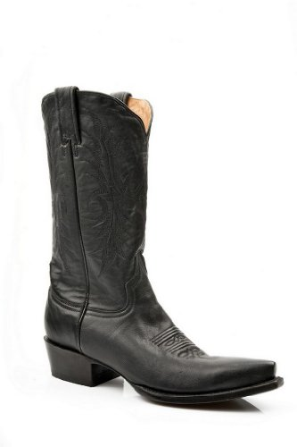 Stetson Womens 12in Snip Toe Black Ficcini Leather Western Cowboy Boots 7.5 B
