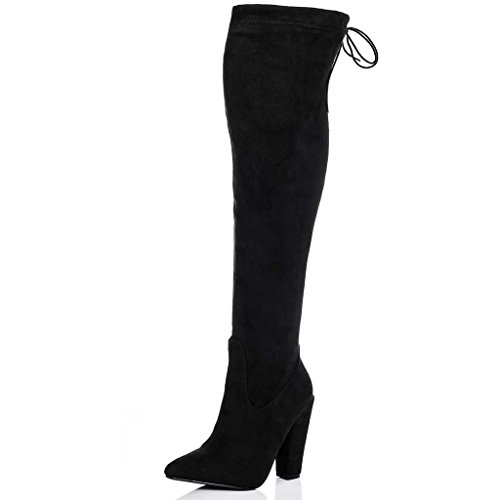 LACE UP STRETCH BLOCK HEEL OVER KNEE TALL BOOTS BLACK SUEDE STYLE SZ 7