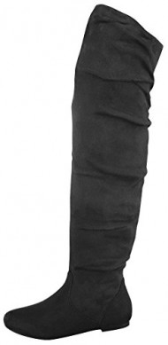 Top Moda JL-45 Women's Over The Knee Slouch Boots, Color:BLACK, Size:8