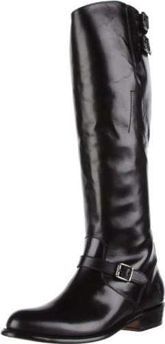 FRYE Women's Dorado Buckle Riding Boot, Black Smooth Polished, 8.5 M US