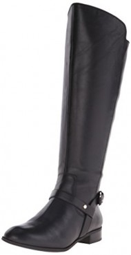 Anne Klein Women's Kahlan Wide Calf Leather Riding Boot, Black, 10 M US