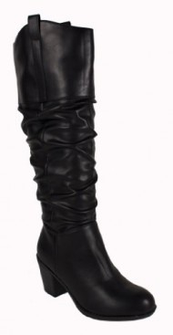Tousle! By City Classified Slouchy Classic Knee-high Boots with Pull-on Tabs, Chunky Heels, and a Cowboy, Midwestern Feel, black leatherette, 7 M