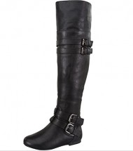 Women's Thigh High Dual Buckle Fold Over Boots in Taupe, Cognac, Tan, Black (8.5, Black)