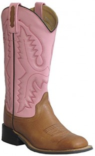 Old West Pink Womens All Over Leather Broad Square Toe Cowboy Boots 8 M