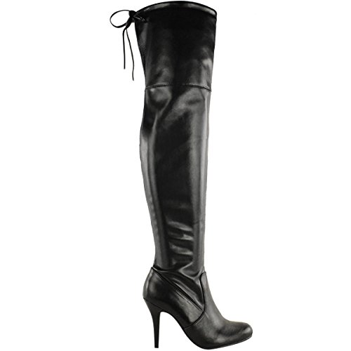 Fashion Thirsty Womens Over The Knee Thigh High Stiletto Heel Boots Stretch Calf Wide Leg Size 8
